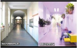 Keadaan sebelum dan sesudah renovasi ruang kolaborasi ide anak-anak dan mahasiswa arsitektur
