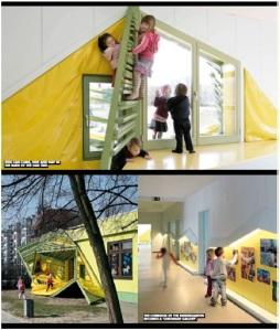 Hasil ruang yang diproduksi oleh mahasiswa arsitektur Baupiloten dengan anak-anak