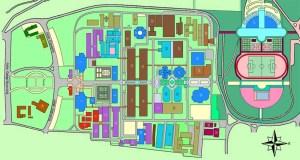 Masterplan Kampus ITB saat ini. Meski tidak persis simetri, kehadiran sumbu masih dipertahankan dan menjadi ciri khas kampus ini.