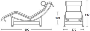 Dimensi Le Corbusier Chaise Lounge Chair LC4